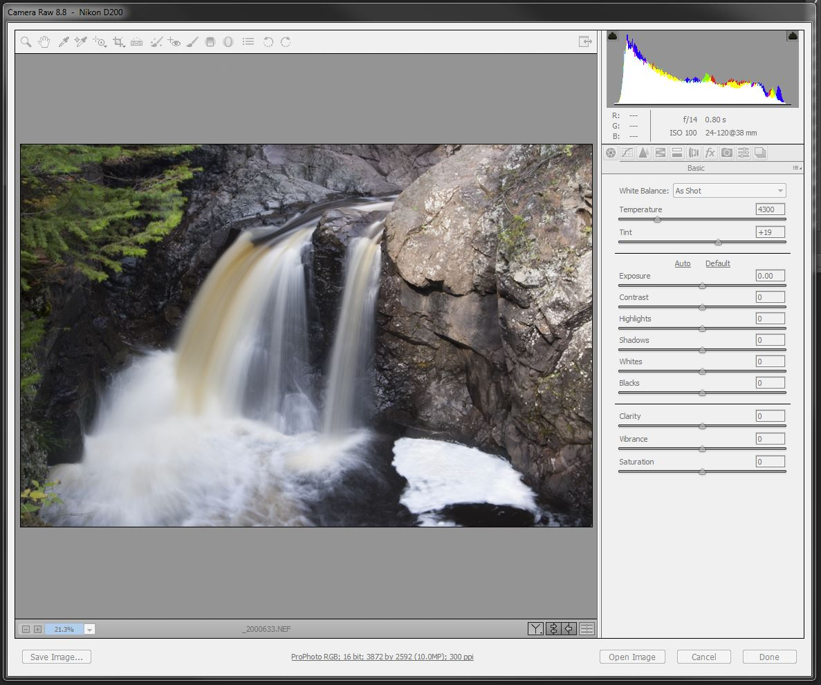 Adobe Camera RAW import settings